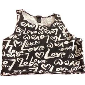 4/$25 - Crop top with repeating Love print